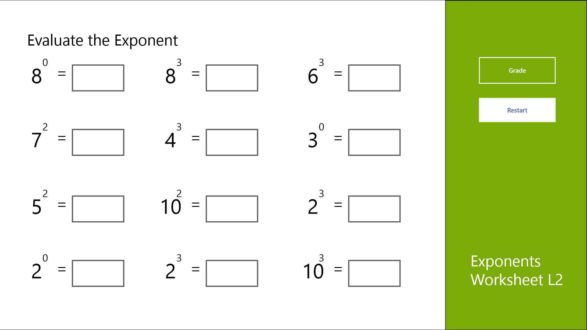 powers and exponents worksheets - Termolak