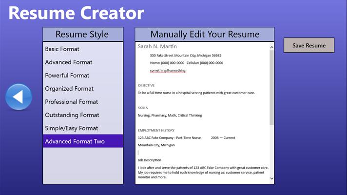 fast easy resume creator windows apps on microsoft store