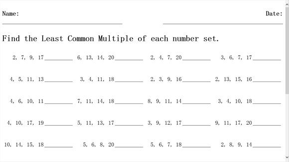 Greatest Common Factor And Least Common Multiple Worksheet ...
