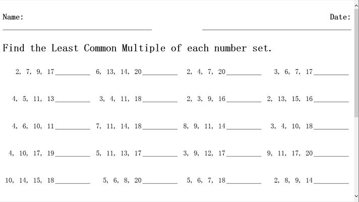 least common multiple worksheet for windows 10. Black Bedroom Furniture Sets. Home Design Ideas