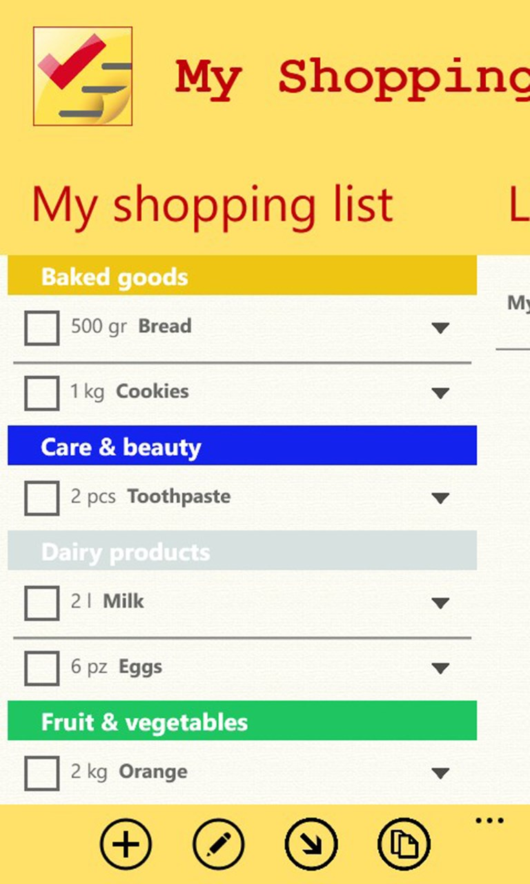 how to make a shopping list on my phone