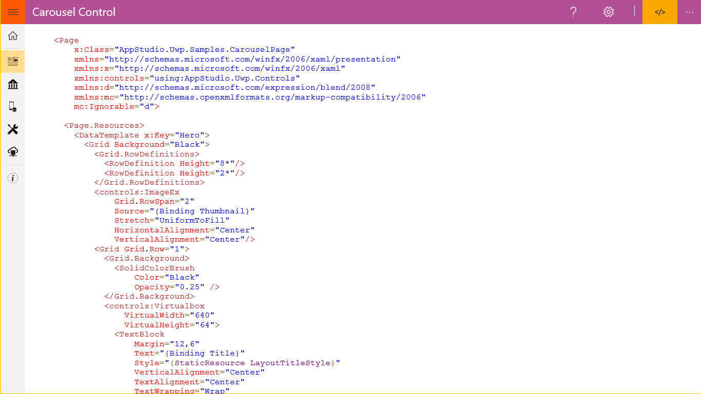 Windows App Studio UWP Samples