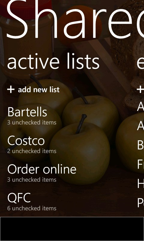 Shared Shopping List