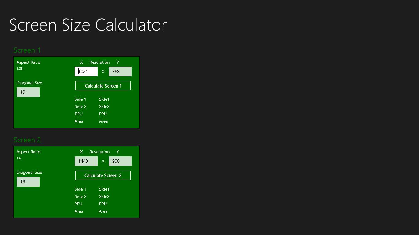 Screen Size Calculator Free Windows Phone App Market
