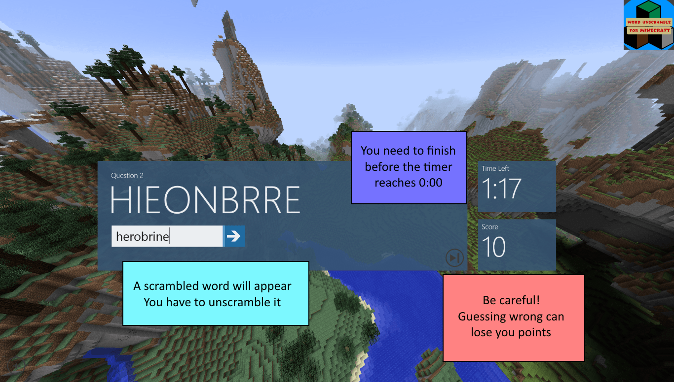 Word Unscramble for Minecraft