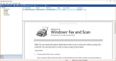 Windows Fax and Scan Screenshot