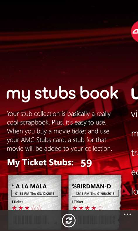 AMC Stubs is a rewards program for AMC Theatre patrons offering $10 in rewards for every $ spent at the theatres, as of Members get free size upgrades on fountain drink and popcorn purchases and get ticketing fees waived when tickets are purchased online. The program costs $12 per year.