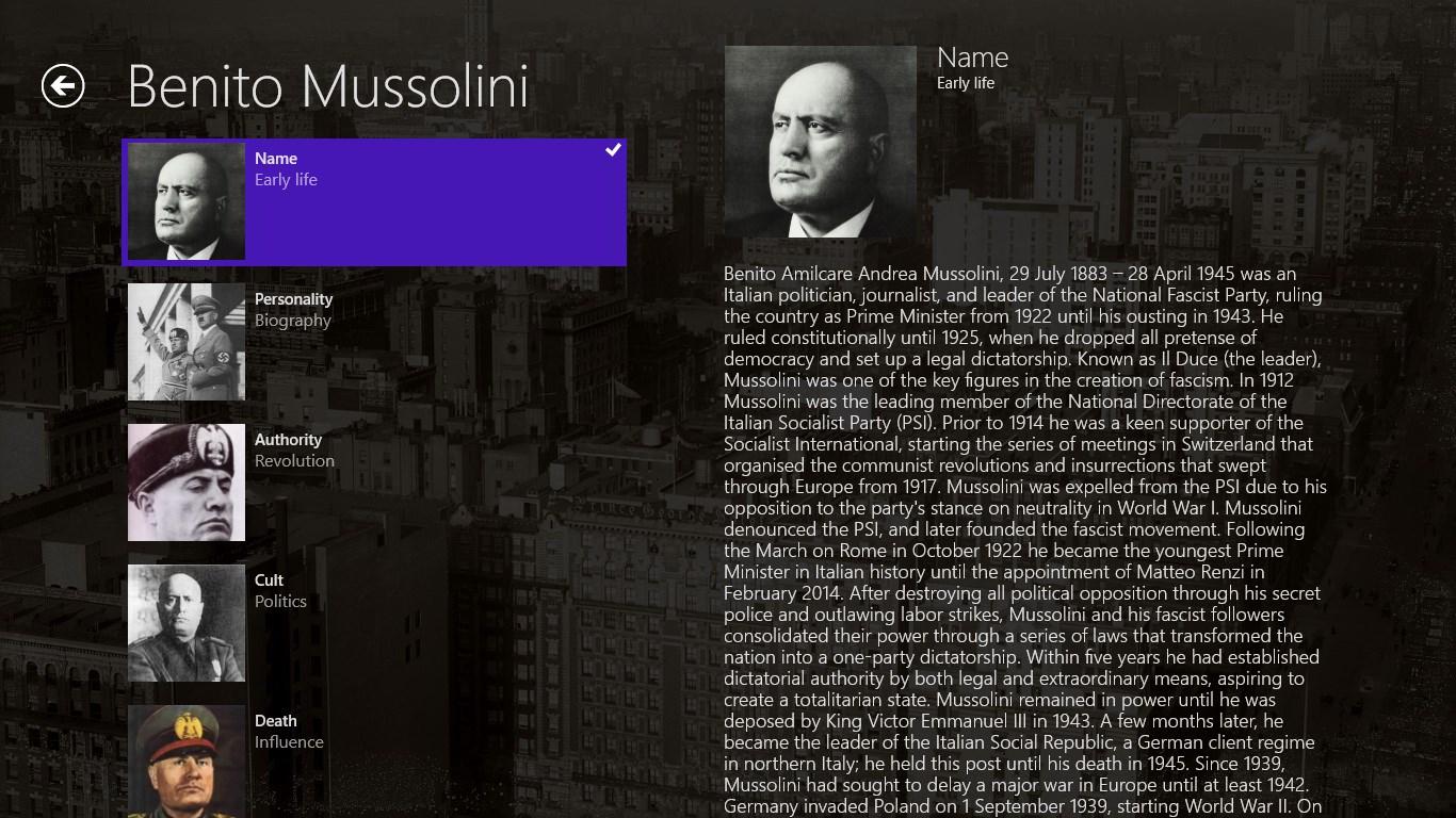 the description of dictatorship through the rule of benito mussolini