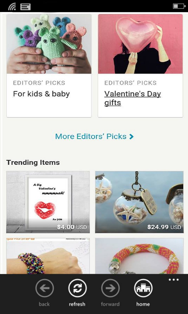 Etsy Mobile View