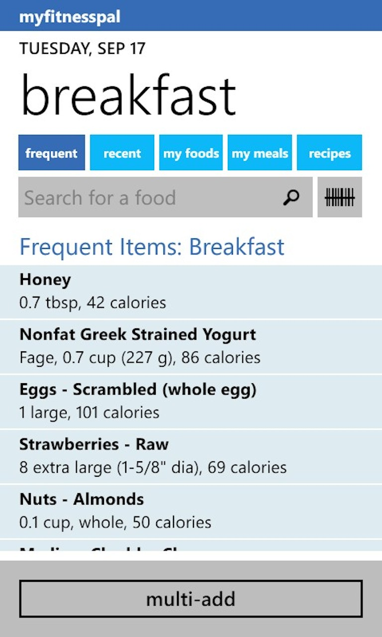 MyFitnessPal for Windows 10 Mobile