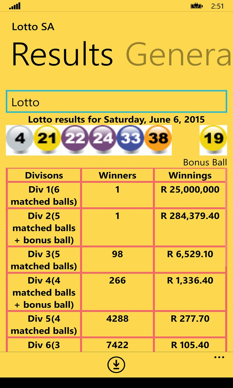 Lotto Results Sa
