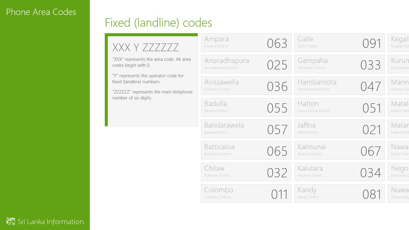 Phone Area Codes | FREE Windows Phone app market