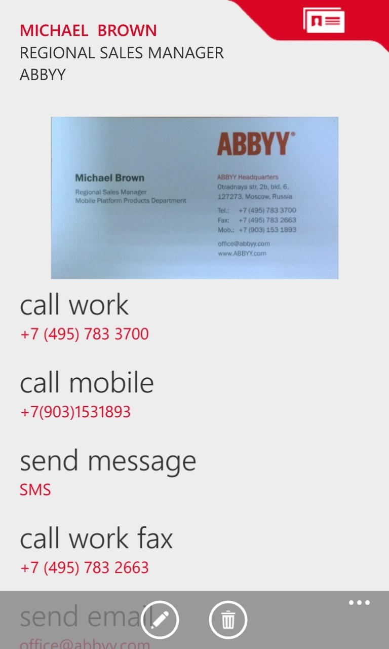Abbyy business card reader free windows phone app market for Business card storage app