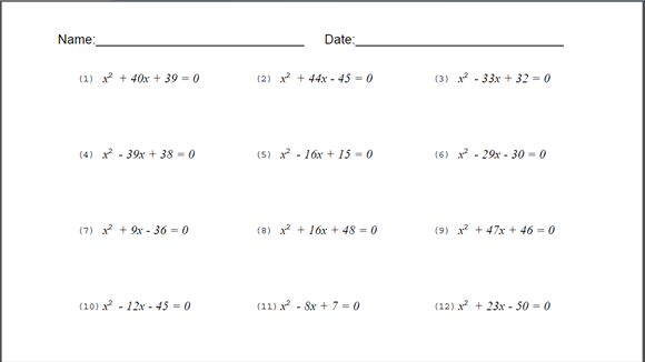 Printables Quadratic Equations Worksheet equations worksheet davezan quadratic davezan