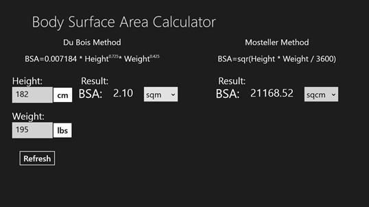 Body Surface Area Calculator for Windows 10 free download | TopWinData ...