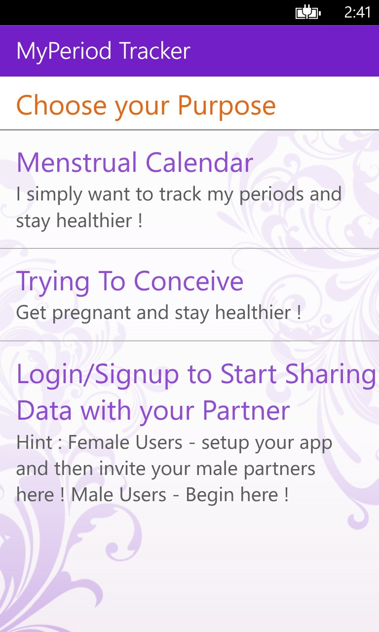 My Period Tracker / Calendar