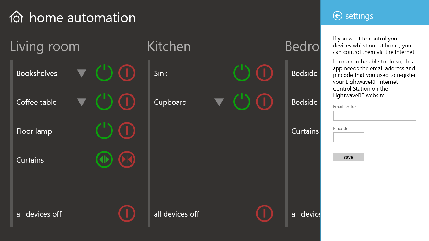 Home automation for lightwaverf free windows phone app for Define home automation