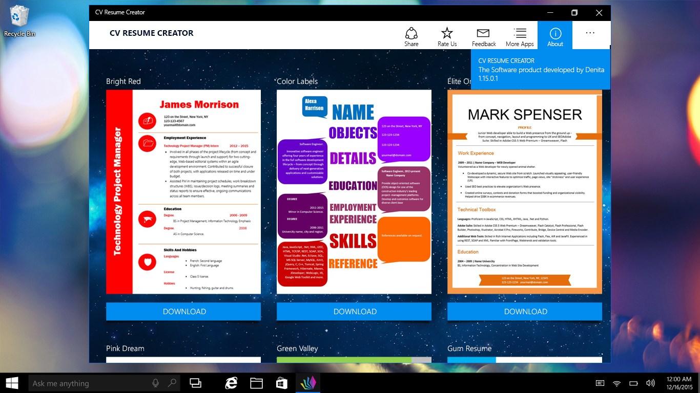 cv resume creator free windows phone app market
