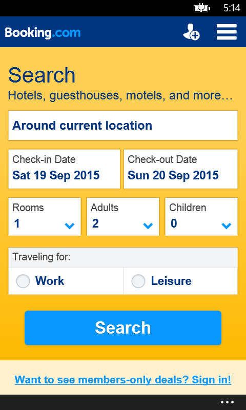 Hotel reservations free windows phone app for Reservation dhotel