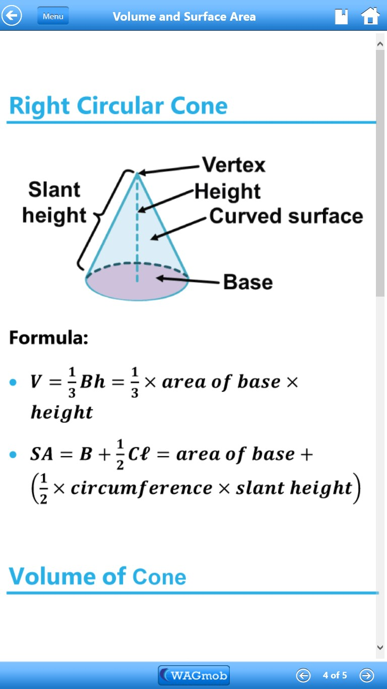volume and right circular cone