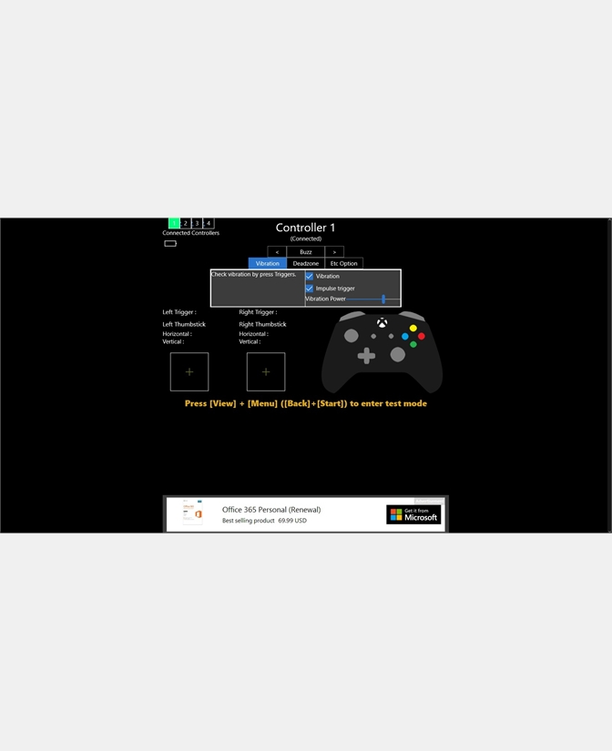 Game Controller Tester Screenshot