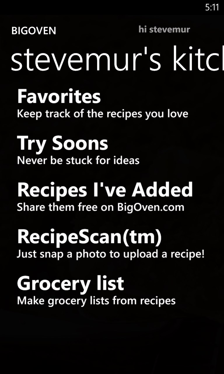 BigOven 300,000+ Recipes and Grocery List