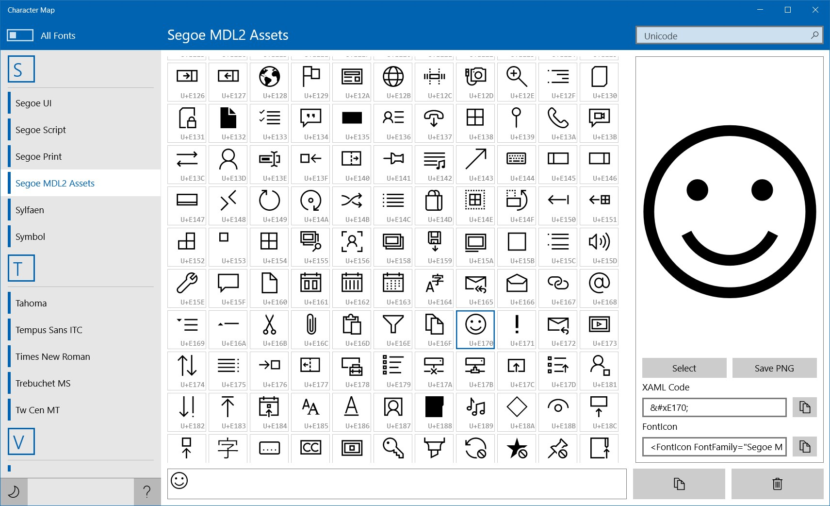 Zeichentabelle Windows
