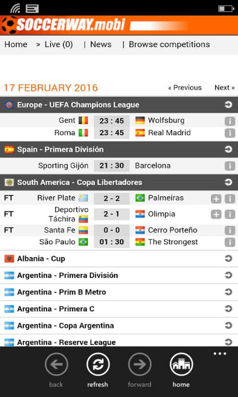 Soccerway Mobile for Windows 10 Mobile