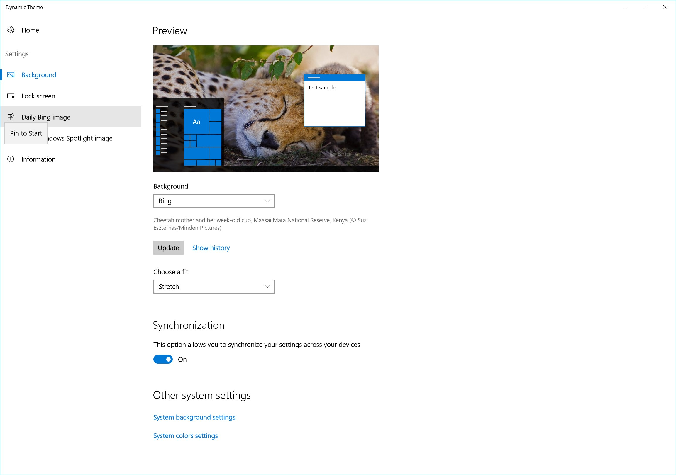 how to use dynamic theme windows 10 app