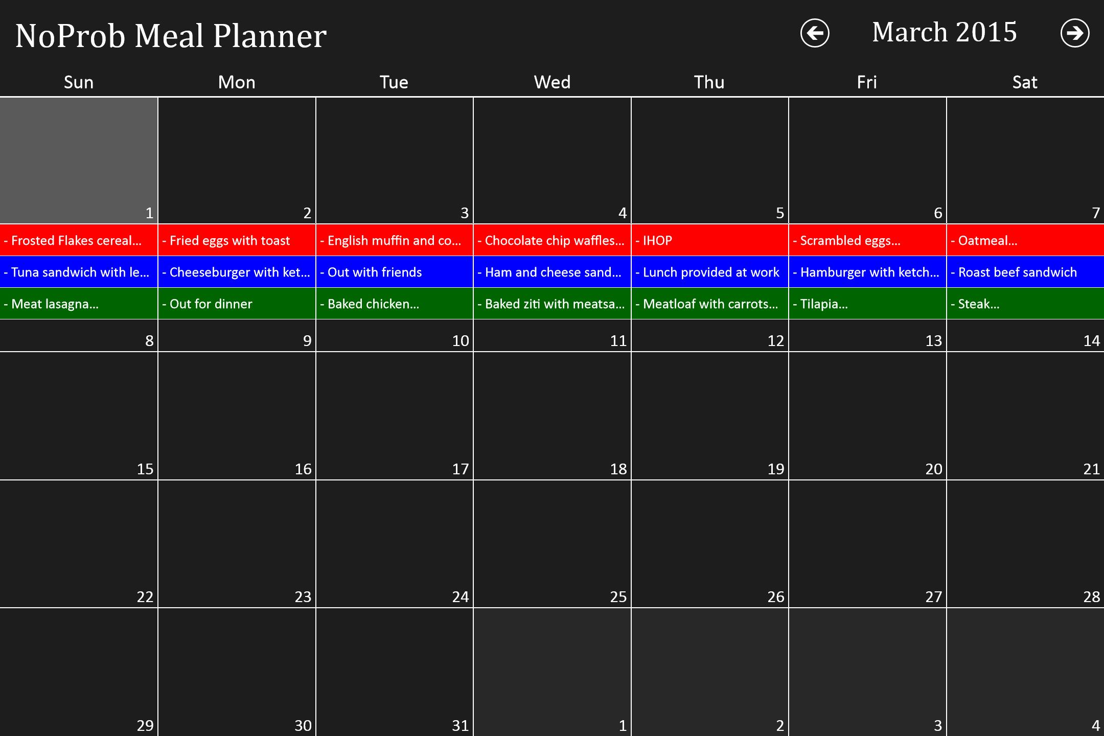 Noprob meal planner for windows 10 for Tile planner app