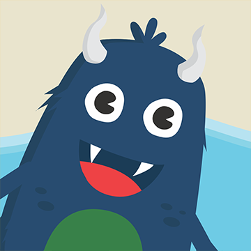 a blue furry creature with a green stomach, white horns, and smile