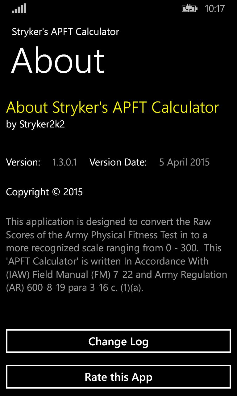 Stryker's APFT Calculator | FREE Windows Phone app market
