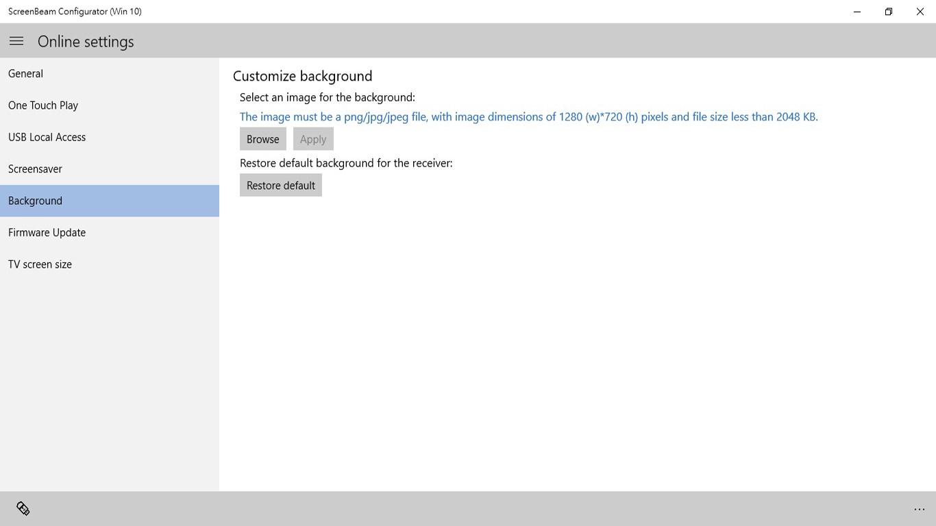 ScreenBeam Configurator (Win 10)