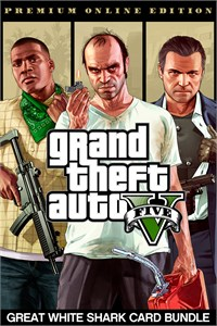 Carátula para el juego Grand Theft Auto V: Premium Online Edition & Great White Shark Card Bundle de Xbox 360