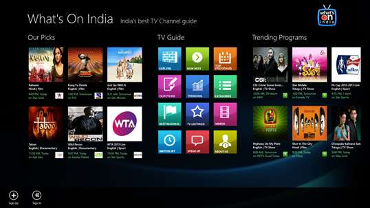 Download WHAT'S-ON-INDIA : TV Guide for Windows 10 from Windows App