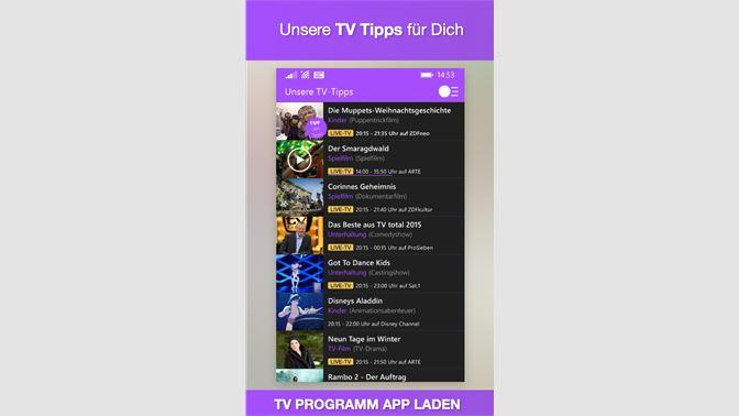 Tv Programm App Tvde Mit Live Tv Beziehen Microsoft Store De De