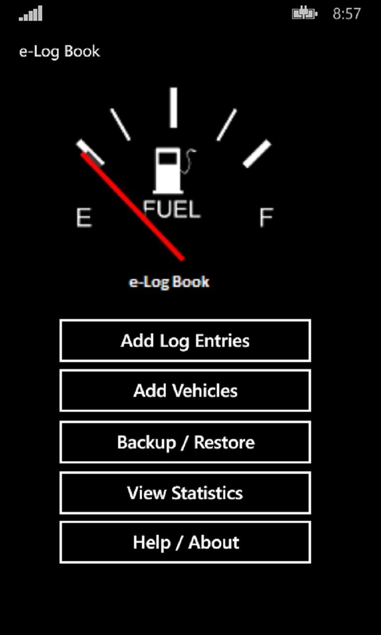 vehicle fuel log book