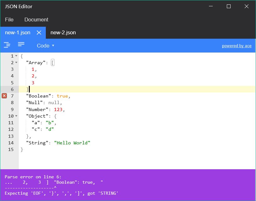 JSON Editor for Windows 10 Mobile