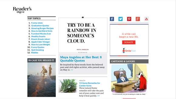 Screenshot: home page