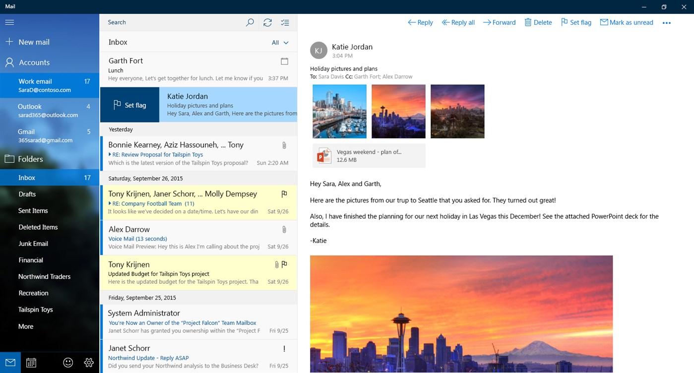 Mail, Calendar, People, and Messaging screenshot