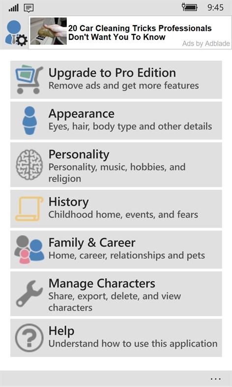 Character Generator – (Windows Phone Apps) — AppAgg