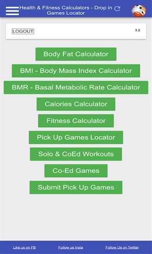 Djamga PRO: Pick Up Games, Health and Fitness Calculator Screenshot