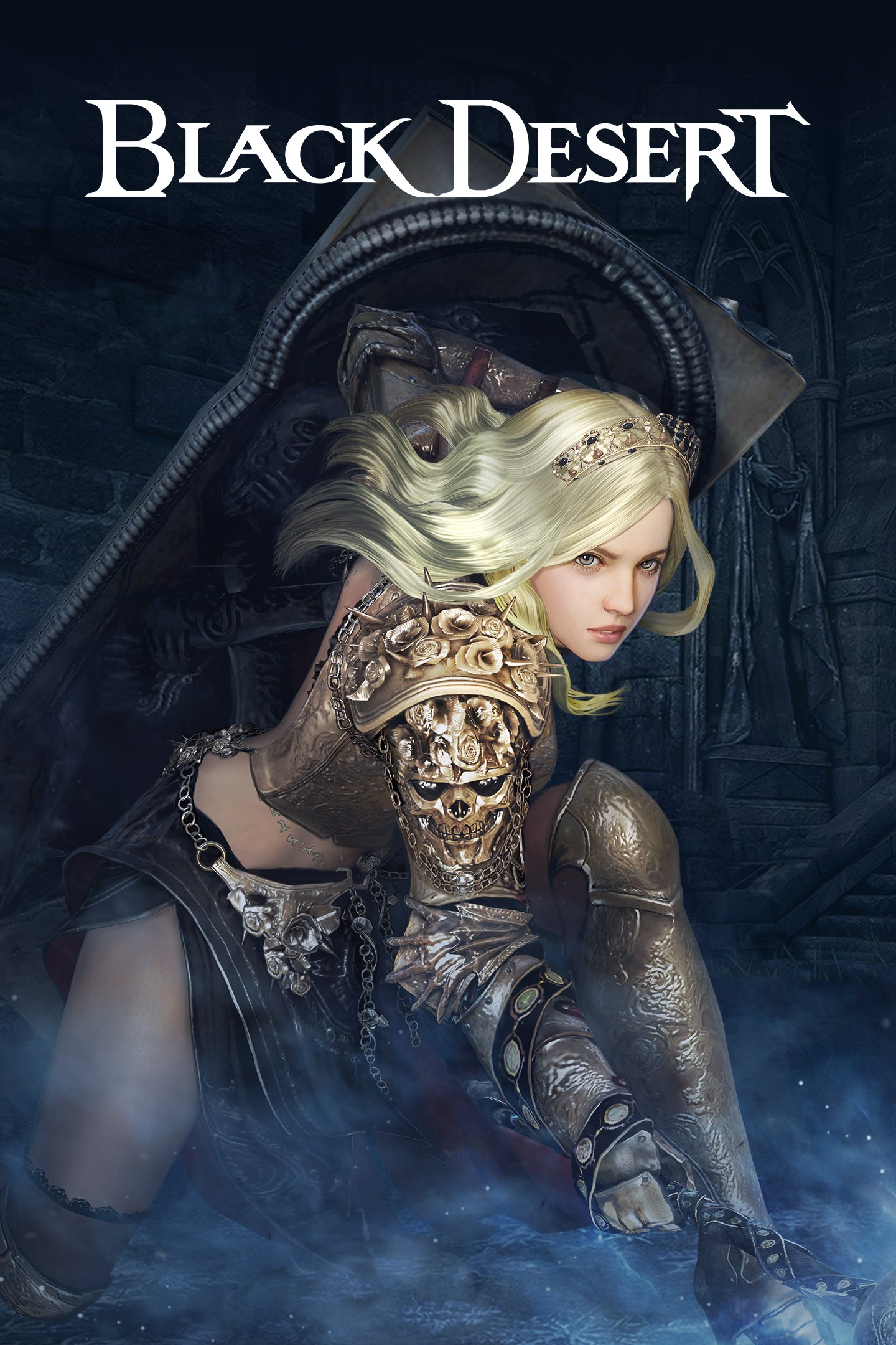 Black Desert, A blonde warrior in armor throws a weapon to the ground.