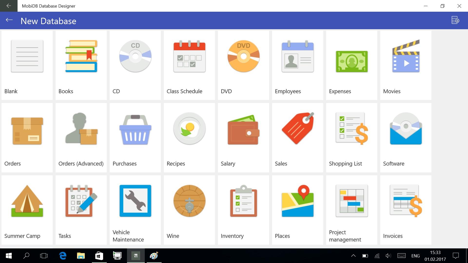 MobiDB Database Designer for Windows 10 Mobile