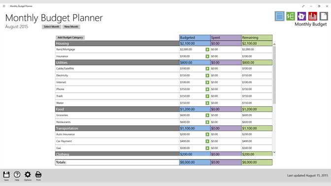 buy monthly budget planner microsoft store