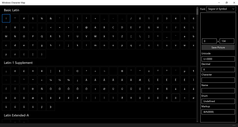 Windows Character Map