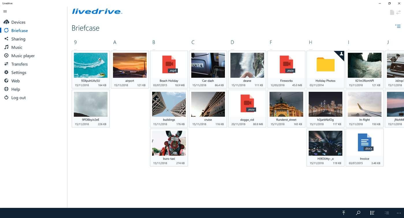 Livedrive screenshot
