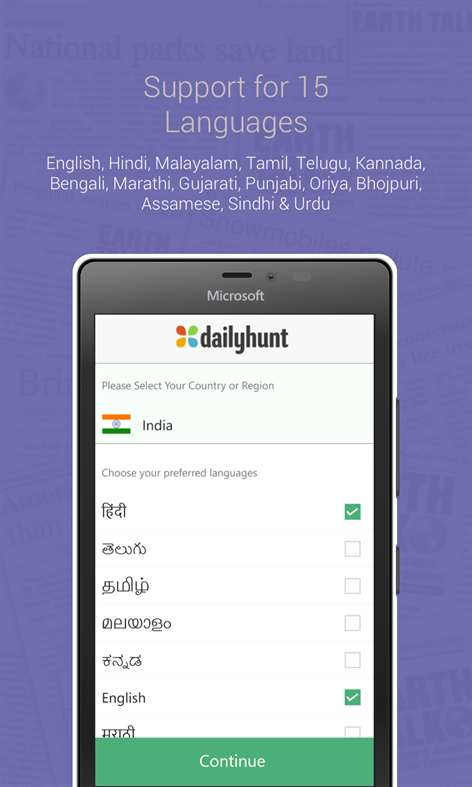 Dailyhunt app on Windows