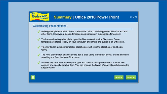 Buy professor teaches powerpoint 2016 microsoft store en as end of chapter summaries allow you to review what you have learned maxwellsz