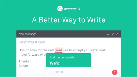 Grammarly for Microsoft Edge screenshot